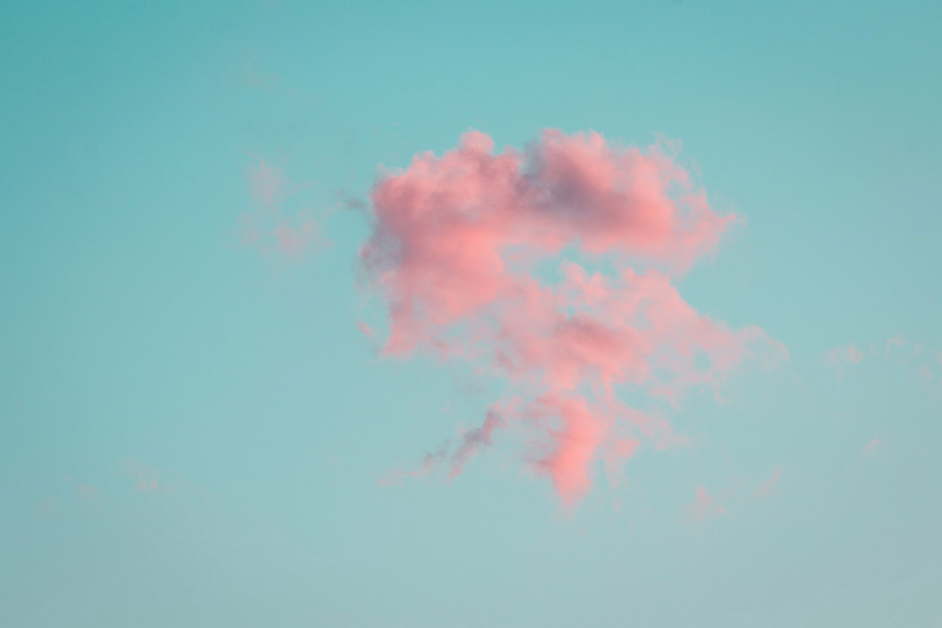 Pink cloud on blue skies